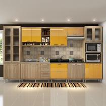 Cozinha Compacta 17 Portas para Pia e Cooktop 5806 Amarelo/Argila - Multimóveis