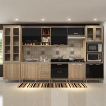 Cozinha Compacta 17 Portas para Pia e Cooktop 5806 Preto/Argila - Multi móveis