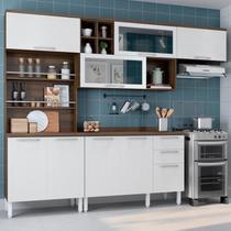 Cozinha Compacta 2 Armários Aéreos e Paneleiro 2 Portas Alecrim Thela Nogueira/Branco -