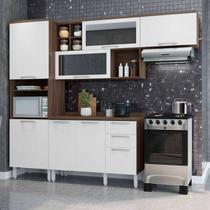 Cozinha Compacta 2 Armários Paneleiro e Balcão Alecrim Thela Nogueira/Branco -