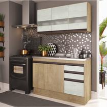 Cozinha Compacta 2 Peças A2699 (Não acompanha Pia) Amália Casamia Nogueira/Snow -