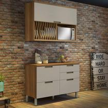 Cozinha Compacta 2 Peças Duquesa Nesher Móveis Freijó/Off-White -