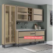 Cozinha Compacta 2 Portas 4 Portas com Vidro Canela Thela Salina/Salina -