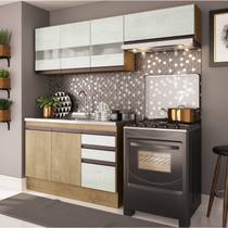 Cozinha Compacta 3 Peças A2698 (Não acompanha Pia) Amália Casamia Nogueira/Snow -
