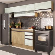 Cozinha Compacta 4 Peças A2697 (Não acompanha Pia) Amália Casamia Nogueira/Snow -
