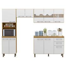 Cozinha Compacta 4 Peças Balcão com Tampo 3 Portas de Vidro Lara Espresso Móveis Sinai/Branco -