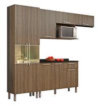 Cozinha Compacta 4 Peças com Balcão e Paneleiro Itatiaia Star Castanho -