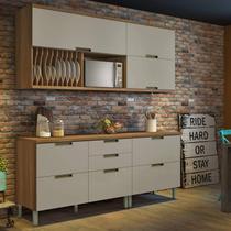Cozinha Compacta 4 Peças Duquesa Nesher Móveis Freijó/Off-White -