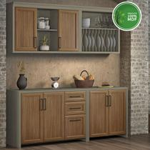 Cozinha Compacta 4 Peças em MDF Camponesa Nesher Fendi/Freijo - Moveis Nesher