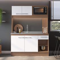 Cozinha Compacta 4 Portas 1 Gaveta New Delta Decibal Avelã/Branco -