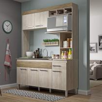 Cozinha Compacta 6 Portas 1 Gaveta sem Tampo New Verona Decibal Malbec/Wood -