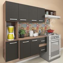 Cozinha Compacta 7 Portas 2 Gavetas Suspensa Armário E Balcão Anita America Grafite/marrom - Pnr Móveis