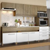 Cozinha Compacta 8 Portas 4 Gavetas Co780 Wood/Branco - Decibal