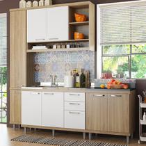 Cozinha Compacta 8 Portas para Pia Com Balcão 5812 Branco/Argila - Multimóveis