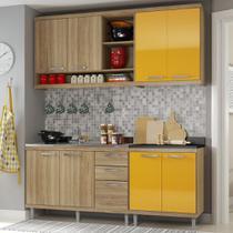 Cozinha Compacta 8 Portas para Pia Com Balcão 5818 Amarelo/Argila - Multimóveis