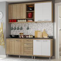 Cozinha Compacta 8 Portas para Pia Com Balcão 5818 Branco/Argila - Multimóveis