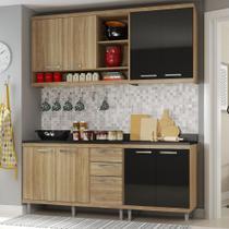 Cozinha Compacta 8 Portas para Pia Com Balcão 5818 Preto/Argila - Multimóveis