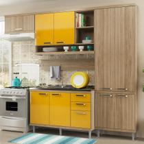 Cozinha Compacta 9 Portas Com Balcão P/ Pia 5838 Amarelo/Argila - Multimóveis
