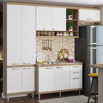 Cozinha Compacta 9 Portas Com Balcão para Pia 5840 Branco/Argila - Multimóveis