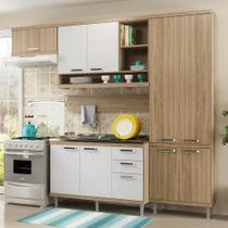 Cozinha Compacta 9 Portas Sicília Balcão P/ Pia 5838 Branco/Argila - Multimóveis