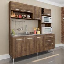 Cozinha Compacta Aéreo, Nicho para Forno e Balcão de Pia Blume Dark - Casamia