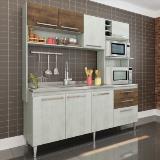 Cozinha Compacta Aéreo, Nicho para Forno e Balcão de Pia Blume - Snow/Dark - Casamia