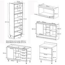Cozinha Compacta Aéreos, Armário p/ Forno/Micro-ondas e Balcões de Pia/Cooktop - Argila/Laca Amarelo - Casatema