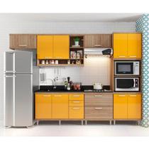 Cozinha compacta Aéreos, Armário P/ Forno/Micro-Ondas e Balcões De Pia/Cooktop - Argila/Laca Amarelo - Multimóveis