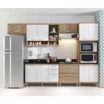 Cozinha Compacta - Aéreos, Armário para Forno/Micro-ondas e Balcões para Pia/Cooktop - Argila/Branco - Casatema