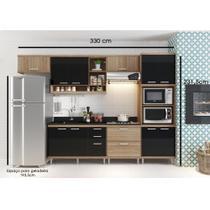 Cozinha Compacta - Aéreos, Armário para Forno/Micro-ondas e Balcões para Pia/Cooktop - Argila/Preto - Casatema