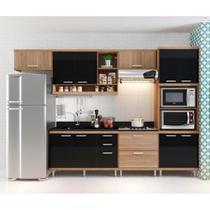 Cozinha compacta - Aéreos, Armário Para Forno/Micro-Ondas e Balcões Para Pia/Cooktop - Argila/Preto - Multimóveis