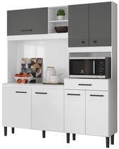 Cozinha Compacta Alecrim Branco Cetim/Chumbo Cetim - Nicioli -