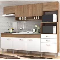 Cozinha Compacta Anita 09 Portas 02 Gavetas Forno Elétrico Microondas Cooktop Amêndoa/Branco - IRM -