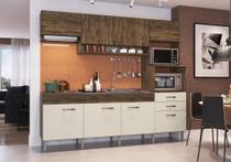 Cozinha Compacta Anita 09 Portas 02 Gavetas Forno Elétrico Microondas Cooktop Itaúba Off White -IRM -