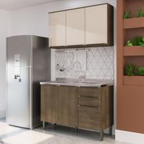 Cozinha Compacta Áustria com Gabinete para Pia e Aéreo 3 Portas - Dark/Off White - Casamia