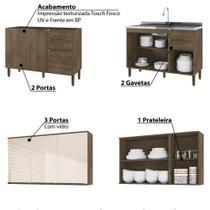Cozinha Compacta Áustria III Gabinete para Pia e balcão para Cooktop - Dark/Off White - Casamia