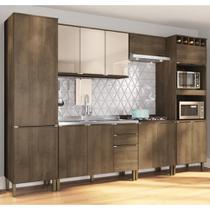 Cozinha Compacta Áustria Nicho para Pia e balcão para Cooktop - Dark/Off White - Casamia