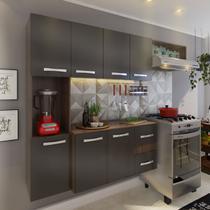 Cozinha Compacta Bahia 7 Portas 2 Gavetas Suspensa Armário E Balcão Teka/grafite - Pnr Móveis -
