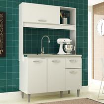 Cozinha Compacta Branca Katy Armário 04 Portas 01 Gaveta - MegaSul - IRM