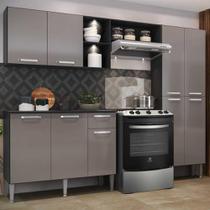 Cozinha Compacta c/ 2 Leds Armário e Balcão com Tampo Pequim Up Multimóveis Preta/Lacca Fumê -