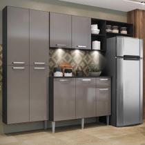 Cozinha Compacta c/ 3 Leds Armário e Balcão com Tampo Pequim Sun Multimóveis Preta/Lacca Fumê -
