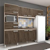 Cozinha Compacta C/ Gabinete Tampo Balcão Armário Aéreo - Fendi/Moka - Henn
