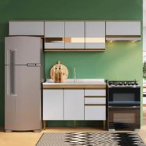Cozinha Compacta Casablanca A3495 Casamia 4 Peças 9 Portas e 2 Gavetas - Mel/Off White -