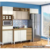 Cozinha Compacta Clara 3 Peças 2 Portas de Vidro sem Balcão de Pia Aramoveis -