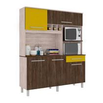 Cozinha Compacta Classic 5 PT 1 GV Carvalho e Amarelo - Madine