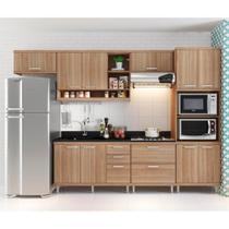 Cozinha compacta com Aéreos, 1 Armário Para Forno/Micro-Ondas e Balcões Para Pia/Cooktop - Argila - Multimóveis