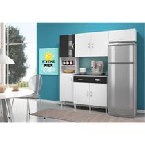 Cozinha Compacta com Balcão 02 Portas Talita Branco/Preto - MoveMax -