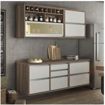 Cozinha Compacta com Balcão e Tampo 4 Peças Baronesa Nesher Móveis Branco -