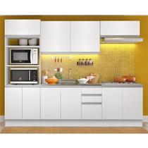 Cozinha Compacta com Balcão para Pia e Cooktop Magáli Branco - Madesa