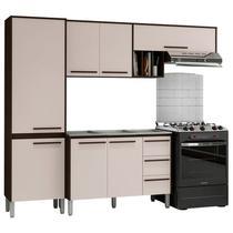 Cozinha Compacta com Balcão para Pia Venice 7 Portas Ébano/Titânio - Kits Paraná -